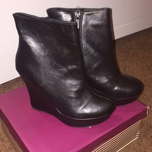 Bamboo Black Faux Leather Wedges